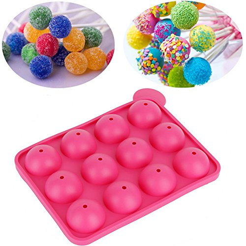 Lollipop Mold Tray 12-Cavity Spheres Chocolate Pops with Silicone Hard Candy Mould by Delaman