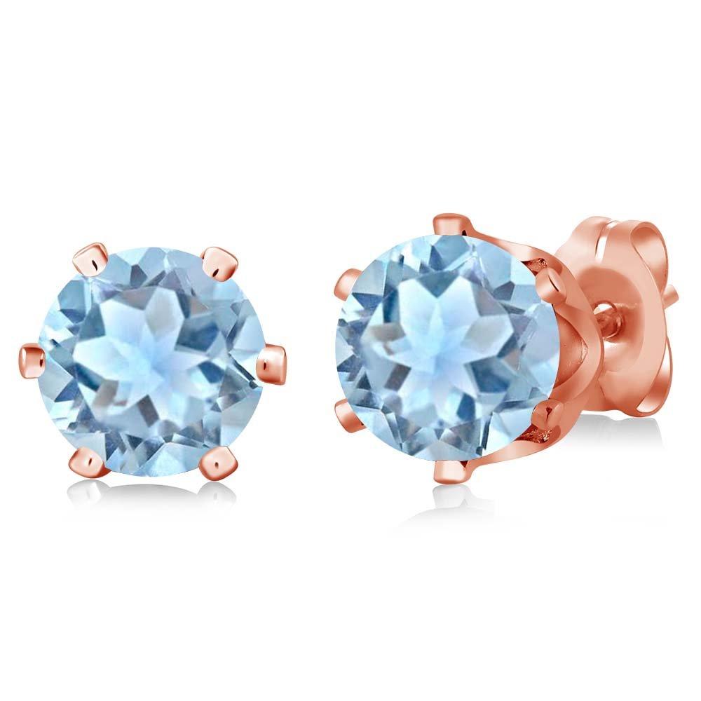 1.50 Ct Round Sky Aquamarine Gemstone Birthstone 925 Silver Stud Earrings 6mm