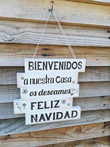 Navidad Cuadro De Madera Pequeño Con Frases De Bienvenido A