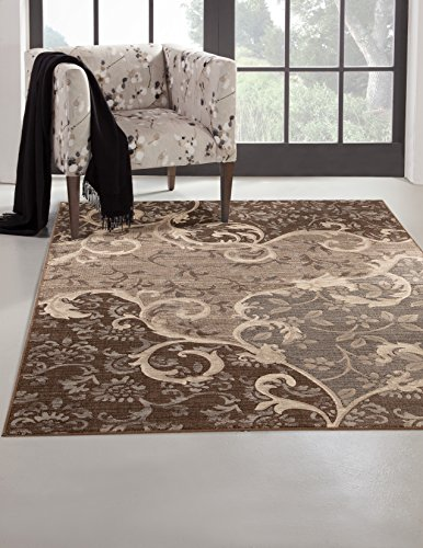 SI Area Rugs 7005 Sonoma Machine Made Area Rug, 5-Feet 3-Inch by 7-Feet 6-Inch, Greys/Chocolate