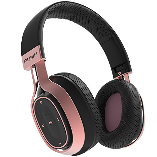 BlueAnt Pump Zone Bluetooth Over Ear HD Wireless Headphones With Mic. 30+ Hour Battery, Huge Bass Sweatproof Ideal For Gym Workouts Sports Running On iPhone Android Phones (Black Rose Gold)