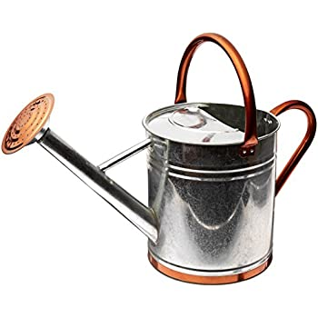 Gardman 8330 Galvanized Watering Can with Copper Accents,  1.9 Gallon