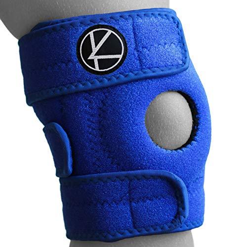 KARM Adjustable Kids Knee Brace Support (1 pc) - Best for Arthritis, ACL, MCL, LCL, Sports Exercise, Meniscus Tear. Open Patella Neoprene Stabilizer Wrap for Children, Boys, Girls (Blue)