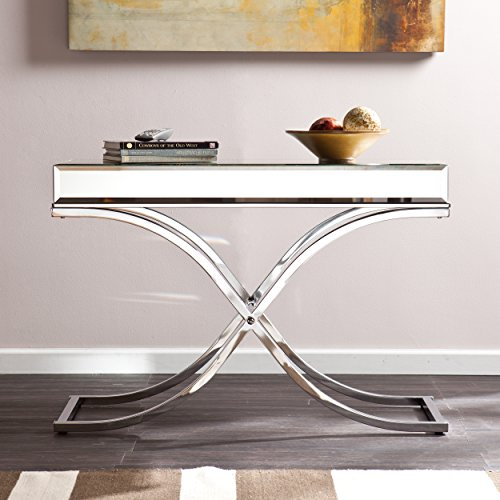 (Ava Mirrored Console Table - Chrome Frame Finish - Contemporary Glam)