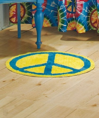Peace Sign 100% Cotton Bath Mat Rug Kitchen Home Decor-YellowBlue