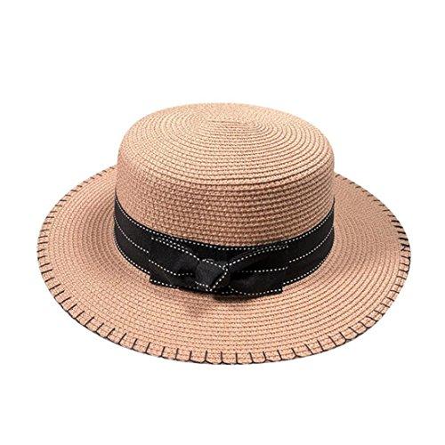 Women Fashion Beach Straw Hat Jazz Sunshade Fedora Hat Gangster Cap (Pink)]()