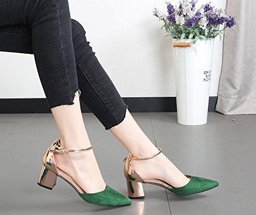 KPHY Damenschuhe Hat Schuhe Farbigen Quadrat Quadrat Quadrat Heels Damenschuhe Dick und Hohl Sexy Casual - Mode Wort Gürtel Süße. 7e3186
