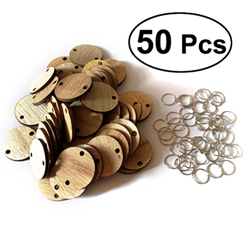 WINOMO 50pcs Wood Slices Round Wood Discs Wooden Circles with Holes and 50pcs Iron Loops (Birthday Circles)