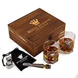 Whiskey Stones Gift Set by Royal Reserve | Men's Birthday Gifts Artisan Crafted Stainless Steel Chilling Rocks Scotch Bourbon Glasses – Gift for Men Dad Husband Boyfriend Anniversary or Retirement