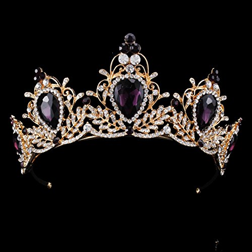 Purple Tiaras and Crowns Crystal Crown Bridal Tiaras for Wedding Rhinestone Princess Tiara Headband Headdress ()