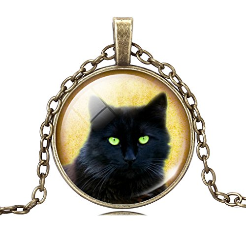 Women Evil Witch Black Cat Grim Eyes Glass Gem Pendant Retro Collar Necklace Evening Party
