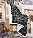 "Catalonia Buffalo Check Sherpa Throw Blanket, Reversible Soft Warm Snuggle Micro Fleece Plush Throws for Bedding Couch TV 60"" x 50"" Plaid Black Catalonia"
