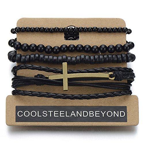 Black Bracelets Multi strand Leather Wristbands
