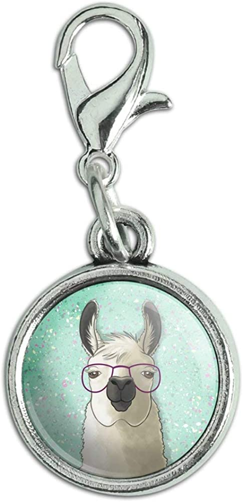 GRAPHICS /& MORE Hip Llama with Glasses Antiqued Bracelet Pendant Zipper Pull Charm with Lobster Clasp