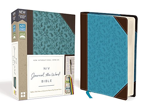 NIV, Journal the Word Bible, Leathersoft, Brown/Blue, Red Letter Edition, Comfort Print: Reflect, Take Notes, or Create Art Next to Your Favorite Verses by Zondervan