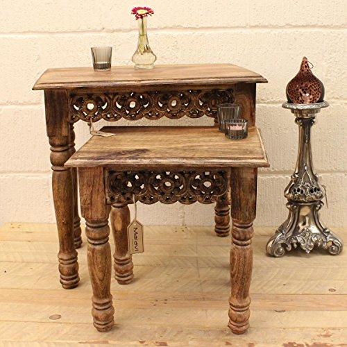 Kali Set of 2 Wooden Carved Edge Nest of Tables (Uk Furniture Conservatory Sets)