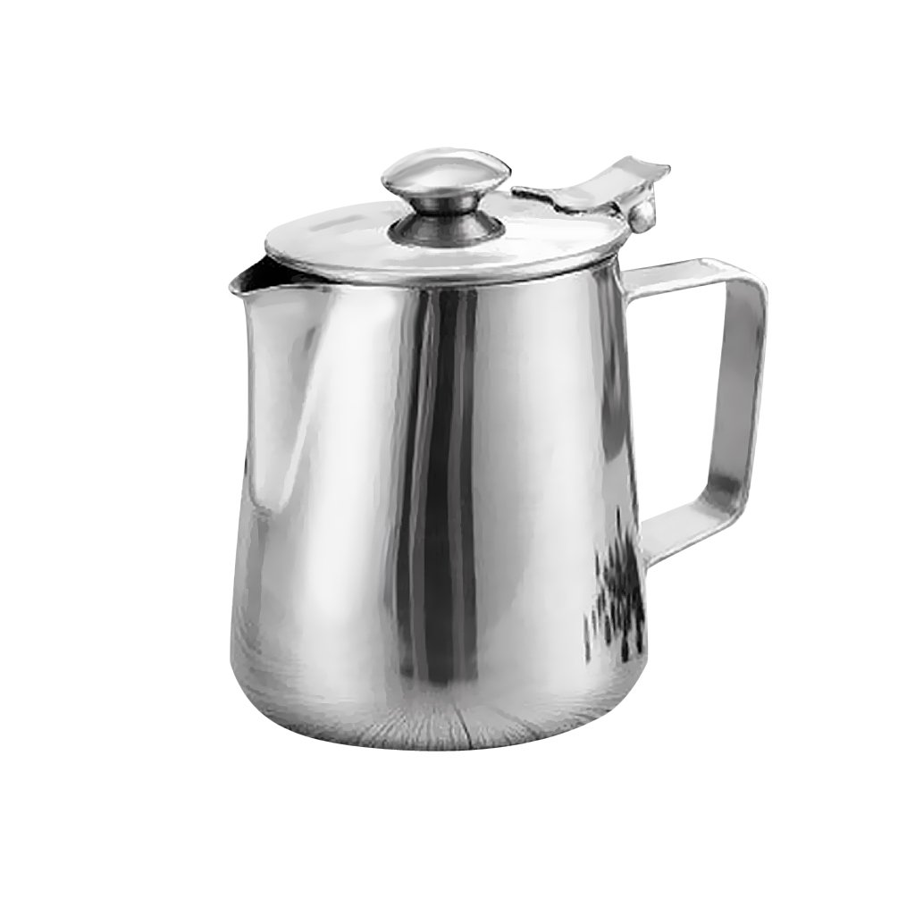 Dovewill Silver Stainless Steel Coffee Pitcher Milk Frothing Jug Bar with Lid 5 Sizes - Silver, 350ml