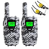 Image of E-wor Walkie Talkies For Kids ,22 Channels FRS/GMRS UHF Kids Walkie Talkies, 2 Way Radios 4 Miles Walkie Talkies Kids Toys With Flashlight, 1 Pair, Camo-Gray