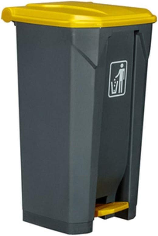 ごみ箱 耐久性のある100リットルの屋外のゴミ箱は台所のオフィスの通りのための黄色のふたのフィートのペダルの灰色のゴミ箱が付いている大きいリサイクルのゴミ箱 (Color : 1pc, Size : 100L)