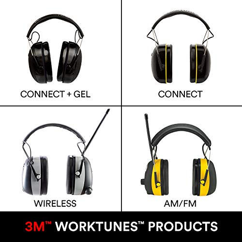 WorkTunes Connect + Gel Ear Cushions Hearing Protector with Bluetooth Technology, Ear protection for mowing, snowblowing…