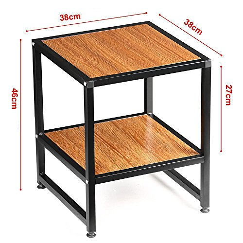 Yaheetech 2 tier 15 square wood coffee table metal legs for Square iron table legs