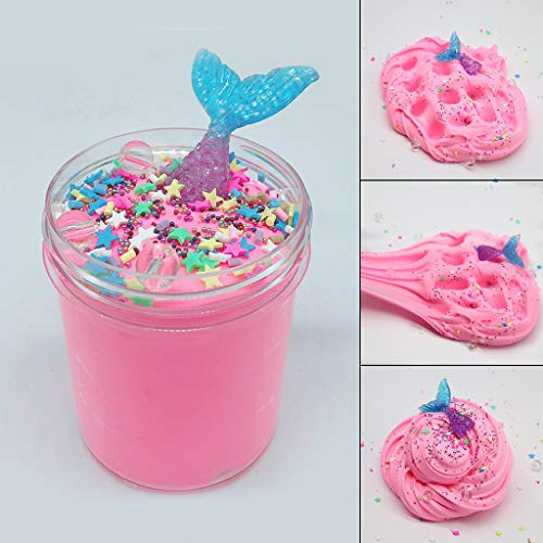 Denzar Fantacy Hot Pink Mermaid Tail Slime Decompression Mud, Squishies Cloud Slime Putty Scented Stress Relief Kids Adults Non-Toxic Clay Toy Gift