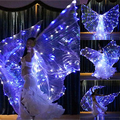 m·kvfa LED Isis Wings Glow Light Up Belly Dance Club Costumes Performance Clothing Carnival Girls Women Clothing Accessories (Isis Wings + Sticks) -
