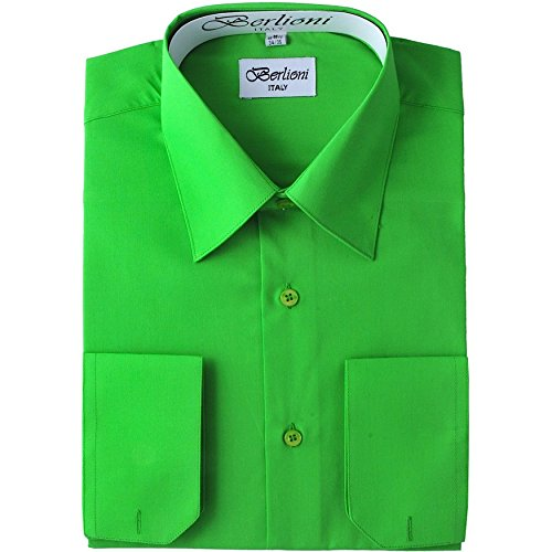 Men's Dress Shirt - Convertible French Cuffs ,Apple Green,2X-Large (18-18.5