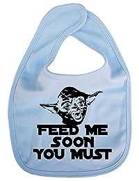 Dirty Fingers, Feed me soon you must, Yoda, Baby Unisex Bib, Blue