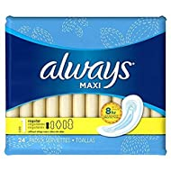 Always Maxi Pads 24ct Regular Non-Wing Unscented, 24 Count (Pack of 2)…
