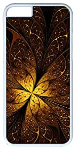 "Abstract Leaf Swirl Fractal Golden Swirling Leaves Case for iPhone 6(4.7"") PC Material White"