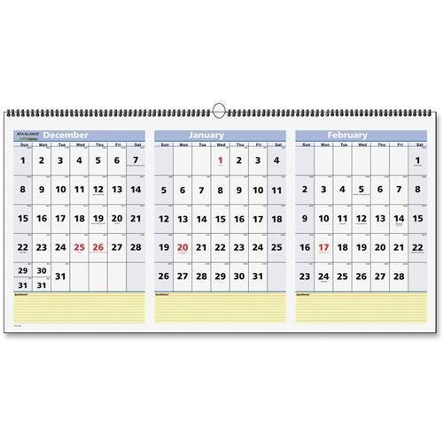 PM1528 At-A-Glance 3 Months QuickNotes Horizontal Wall Calendar - Quarterly - 12