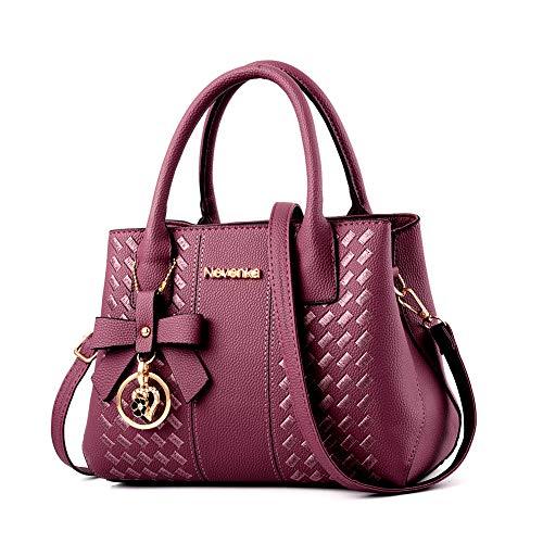 - Handbags for Women Fashion Ladies Purses PU Leather Satchel Shoulder Tote Bags (Purple1)