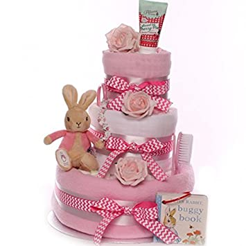 Peter Rabbit Nappy Cake For A Baby Girl Free Fast DELIVERY Ideal Shower Gift
