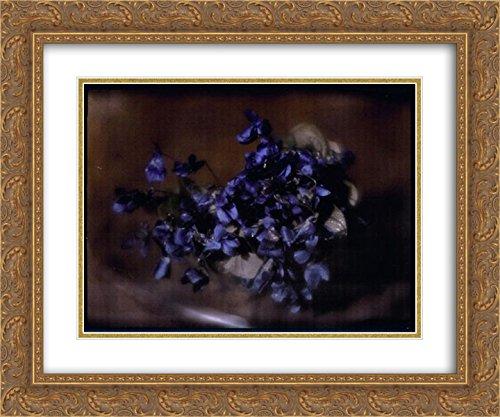 Heinrich Kuhn 2X Matted 24x20 Gold Ornate Framed Art Print 'Violets'