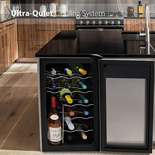 NutriChef 18 Bottle Thermoelectric Wine Cooler / Chiller | Counter Top Red And White Wine Cellar | FreeStanding Refrigerator, Quiet Operation Fridge | Stainless Steel by NutriChef (Image #4)