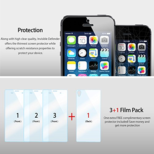 Ringke Screen Protector Compatible with Sony Xperia Z3 Invisible Defender [MAX HD CLEARNESS] Perfect Touch Precision High Definition (HD) Clear Film (4-Pack) (Not for Z3+ / Z3 Compact / Z3 Dual) by Ringke (Image #2)