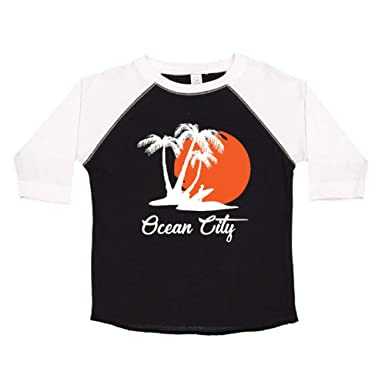 523039a743 Amazon.com: Ocean City Beach Sunset Surfer Toddler/Kids Raglan T ...