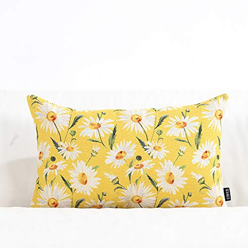 ARAYACY Small Fresh Flower Cotton and Linen Pillow Office Lumbar Pillow Sofa Cushion Pillow Country Wind Living Room Back Pillow,I ()