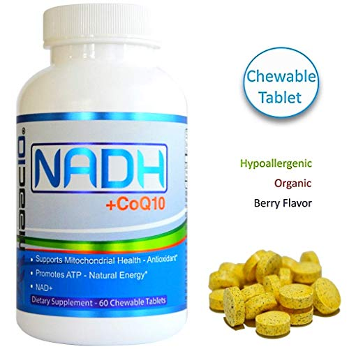MAAC10 NADH + CoQ10 Supplement | Supports Cellular Energy and NAD+ | 50mg PANMOL® NADH + 100mg CoQ10 | 60 Tasty Chewable Tablets 2 per Serving