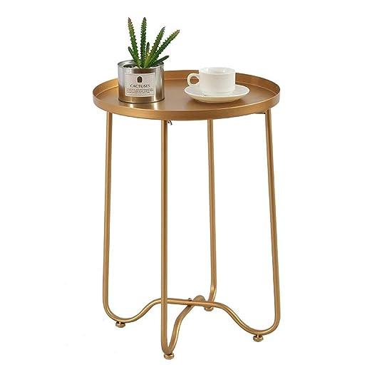 Pequeña mesa de café Bandeja de metal Pequeña mesa auxiliar mesa ...