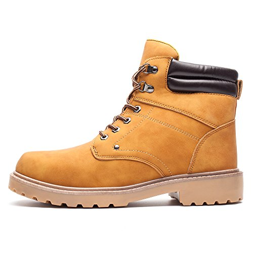 DRKA Men's Water Resistant Work Boots Comfortable Leather Plain Rubber Sole Industrial Construction Shoes for Male(17927-Wheat-46) by DRKA (Image #3)