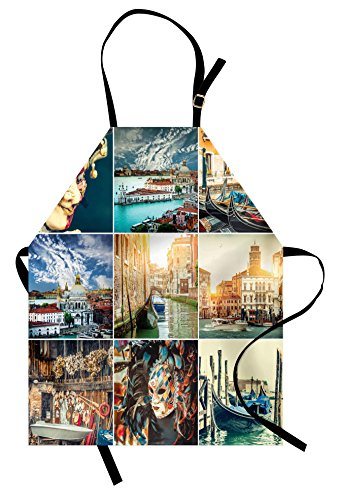 (Ambesonne Italian Apron, Designed Masks for Carnival of Venice Baroque Style Gondolas River Italy Landmark, Unisex Kitchen Bib with Adjustable Neck for Cooking Gardening, Adult Size, Dark)
