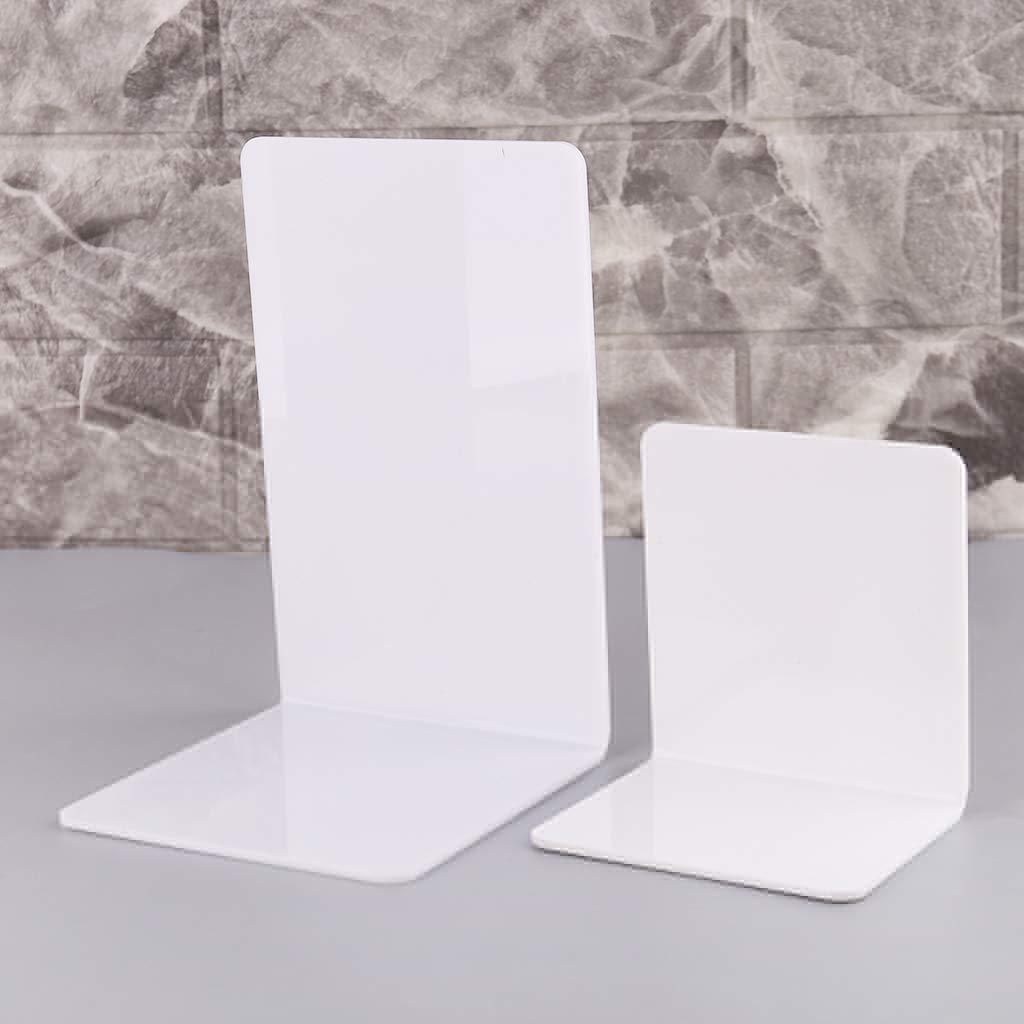Huiouer 2 pezzi Fermalibri a forma di L in acrilico colore: bianco Small