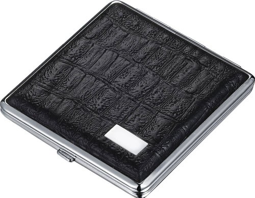 Visol Ares Black Leather Double Sided Cigarette Case