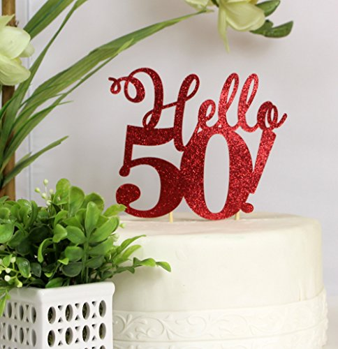 All About Details Red Hello 50! Cake Topper -