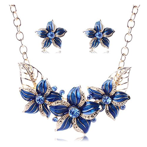 [Luck Wang Woman's Unique Temperament Fashionable Flowers Drip Diamond Necklace Earring Sets(Bule)] (Lord Of The Rings Child Arwen Costume)