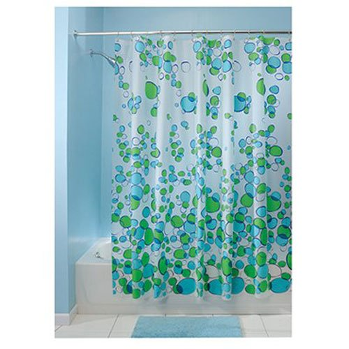 InterDesign Pebblz Shower Curtain, Blue/Green, 72-Inch by 72-Inch