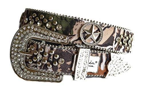 [western camo mossyTexas star concho rhinestone buckle belt S M L (M, green)] (Western Rhinestone Star Concho)