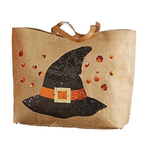Mud Pie Halloween Dazzle Sequin XL Tote Bag (Witch's Hat) by Mud Pie